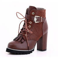 2013 martin boots female autumn and winter thick heel tassel boots platform high-heeled boots fashion motorcycle boots