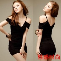Spring and summer sexy V-neck spaghetti strap strapless slim hip slim one-piece dress free shipment