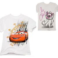 children's clothing T-shirt Baby girls boys shirt Spring 2013 short-sleeved T-shirt  new car Retail Cartoon cat