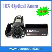 Free Shipping 1080P HDMI cable Max 16MP digital video camara with 10X optical zoom &remote control HDV-Z35