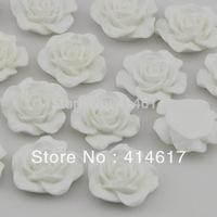 40pcs Resin Rose Flower Flatback Buttons DIY Scrapbooking Appliques White Color