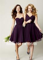 2014 New Arrival Simple Design A-line Pleat Crisscross Sweetheart Mini Length Deep Purple Short Bridesmaid  Dresses
