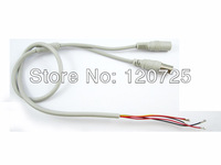 Free Shipping 10pcs 5pin Open End Wire AV Cable To BNC Female Connector with 12V DC Input for CCTV Camera