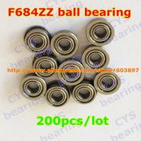 200pcs /lot F684ZZ F684ZZ 4X9X4mm 4*9*4mmF684-2Z flanged metal shielded steel ball bearing