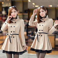 2013 New Women's Trench Slim Double-Breasted Long Woman Clothing Coat Hot Sale M,L,XL Free Shipping nz174