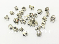 Wholesale 200pcs/lot Mixed Anti-Silver Alloy Beads For Bracelet Making Free Shipment