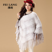 2013 autumn and winter knitted mink hair fur scarf cape mink thickening fur shawl