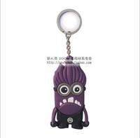 Free shipping Purple crazy minion Despicable Me Keychain Movie Anime Minions Figure Pendants Free Shipping