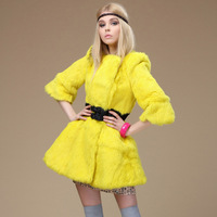 Rabbit fur coat medium-long 2013 women's fur winter women's o-neck slim