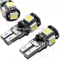 FreeShipping Wholesale 10pcs/Lot Canbus T10 5smd 5050 LED car Light + Canbus NO OBC ERROR White12v