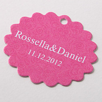 Free Shipping 60 pcs Personalized Pink Baroque Scalloped Wedding Favor Tag/Wedding Decoartion/Garden Supplies