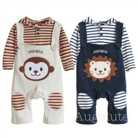 New Arrival New 2013 Fashion Baby Clothing Sets Overalls+T-shirt Cotton Shirt Pants Winter Suit B0aby Costume 2PCS Free shipping