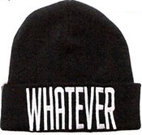 Whosale 100% Acrylic 1pc New style Whatever beanie hiphop hot hat warm black in white embroidery caps