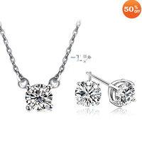 Wholesale fashion white gold plated crystal rhinestone necklace earring wedding jewelry set 1117ss