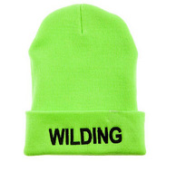 Whosale 100% Acrylic 2 colors Hot Green/Black New Arrivel hat scarf women Fashion Brand WILDING Beanie skullies baseball cap
