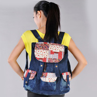 2013 women's denim handbag vintage travel backpack female college students school bag travel backpack