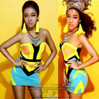 Fashion Sexy Neon Color Block Geometry Patchwork Pattern Slim Tube Top One-piece Dress