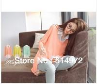 Casual fashion chiffon shirt women turn-down collar fake two piece knitted blouse Free Shipping