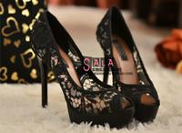 Fashion Ultra High Heels Open Toe Sexy Black Lace Platform High-heeled Shoes Single Shoes Women's  Plus Size Shoes