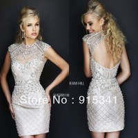 Wonderful Sheath High Neck Pearls Beaded Short Mini Open Back Cap Sleeves Bandage Prom Dress