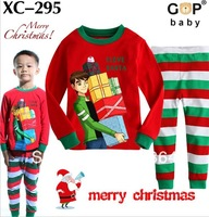 Free shipping2013 100% cotton clothing set autumn-summer for boy christmas hot sale long sleeve pajames set Children suit XC-295