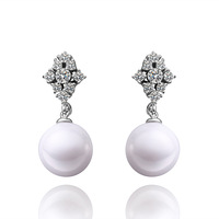 Hot sale E025 Best gift  Free shipping! Wholesale 925 sliver Pearl earrings , New  fashion jewelry for women
