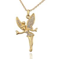 Hot Sale 18K Gold Plated Rhinestone Crystal 2014 Women Necklace Fairy  Angel Wings Pendants Fashion Jewelry 18KGP N587