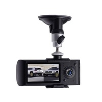 Freeshipping Driving recorder Dual Lens HD wide angle night vision cameras GPS positioning velocimetry CARCAM HX3000