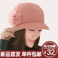 Hat female winter rabbit fur cap double layer thermal knitted hat knitted ear hat