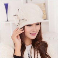 Primaries rabbit fur hat female winter autumn and winter hat bow fashion knitted hat cap