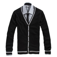 2013 Autumn And Winter Men's Sweater 100% Cotton Knitted Plus Size V-neck Male Cardigan Sweater QP-855