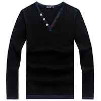 QP-245 2013 autumn male men's clothing plus size plus size long-sleeve T-shirt V-neck fashionable casual super large