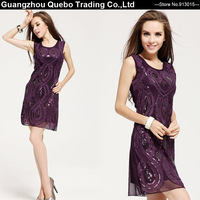 Women's Elegant Purple Tank Formal One-piece Sexy Embroidery Dresses Ladies Knee-length Sequined Rope Vest Evening Party Dress