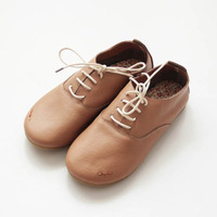 HW1342 vintage cowhide handmade shoes round toe cute shoes single shoes flat genuine leather flats free shipping