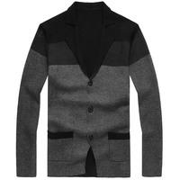 Male color block decoration sweater suit men's clothing outerwear plus size sweater QP-076