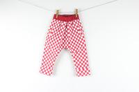 2 colors  6pcs/lot red black Autumn baby cubes baggy pants children Lattice all-match Haren Trousers