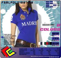 WOMAN T-shirt FSRLPOLO1881-MADRID BLUE embroidery JOCKEY POLO BIG LOGO sport team dress casual all-match SLIM FIGURE FLATTERING