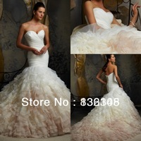 New Exquisite Mermaid Wedding Dress 2014 Sweetheart Ruched Organza Bridal Gowns Free Shipping