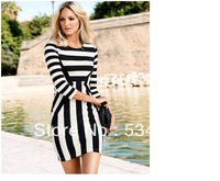 Women Fashion Autumn Black and White Long Sleeve Dress Striped Fall Bodycon Vintage Club Wear Elegant slim dress