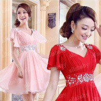 Top Selling Newest Real Samples Drapped Short Sleeve Beadings Trim Cocktail Dresses