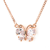 Fashion Real Gold Plated Butterfly Necklace Bowknot Necklace