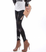 Free shipping 2013 New European/American Style autumn stylish splicing leggings pants pantyhose warm legging