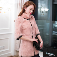 2013 stand collar three quarter sleeve rabbit fur slim fur coat medium-long female