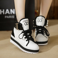 2013 platform high casual female shoes lacing shoes elevator shoes flat