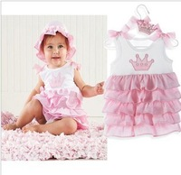Hot!! Promotions!! New powder cake ice cream belt section print baby dress/Baby clothes/Climbing clothes girl Honey Baby