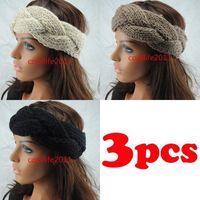 3pcs/LOT GIRLS WOMEN Headband Beanie Ear Warmer Knitted headwrap turban bow