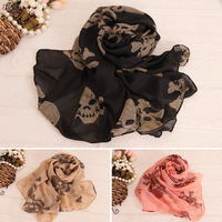 IN STOCK!! PUNK new arrival FASHION skull silk scarf long design cape chiffon scarf FOR woman Free shipping