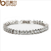Newest Arrival Platinum Plated Bracelet For Women & AAA Zircon Crystal High Quality Bamoer Jewelry YIB010