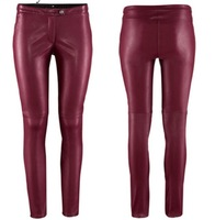 Free Shipping women Pu Leather 	Trousers PU Leather Pants Waist Tight   feet Pants Pencil Pants