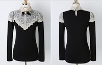 New 2013 Spring Autumn High Quality T-shirt Women Lace Sexy Tops Blouse Fashion Long Sleeve Party Ladies Black S M L XL 5346